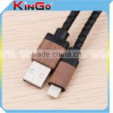 New Arrivel Wooden Shell USB Cable Round Leather Charging Cable For iphone5/5S/6/6Plus/ipad Date Cable