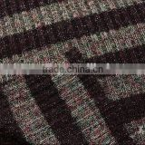 fashion knit rib fabric for lady's, knit jacquard fabric,knit yarn dyed metallic sweater fabric from Shaoxing zequn textile