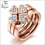 Women's Stainless Steel Love Heart Four-Leaf Lucky Clover Rhinestone Ring 3 in 1 Rose Gold