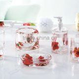 5pcs fessional oil floating,tumbler,tooth brush holder,lotion dispenser,soap dish,toilet brush holder set