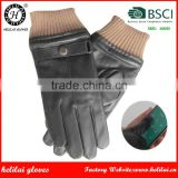 2016 Helilai Customized Leather Gloves Male Smart Phone Leather Gloves Belt and Rib Cuff Men Winter Warm Leather Gloves