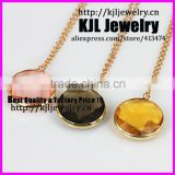 KJL-A0392 Crystal pink yellow and black glass beads necklace,faceted bezel quartz stone gold chain necklace jewelry