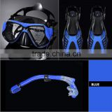 Adult scuba dive mask snorkel flipper set, China silicone diving full face mask snoreling fins equipment