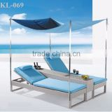 Hot Modern Wicker Double Sunbed - Synthetic Outdoor Rattan Furniture Double Rattan Sun Loungers