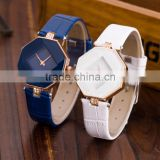New beautiful lady small leather straps elegant watches Prismatic glass surface wristwatch