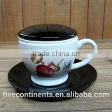 white ceramic tea and coffee cup set with black lid and saucer