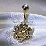 Wholesale Gem Paved Surgical Steel Crystal Flower Shape Belly Button Rings Adhesive Body Jewelry