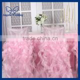 CH007H Gorgeous 2015 fancy popular frilly curly willow double ruffles puffy baby pink hot pink chair covers for weddings