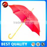 red umbrella with wood handle,straight wooden shaft umbrella