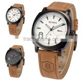 CURREN Fashion Black Dial Brown Leather Strap Men Wristwatches Military Quartz Male Casual Watch