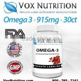 Omega 3 Fish Oil 915 mg Supplement, 30 count - Private Label Omega 3 Fish Oil Supplement