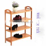 Manufacturer portable wooden shoe rack stackable bamboo pine paulownia shoe rack with 3 layer