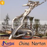 Modern design polished metal woman sculpture for square decor NTS-088L