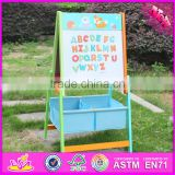 2016 new design multi-function children wooden portable drawing board with magnetic letters W12B102