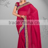Red Color Bridal Wear BorderWork Sari