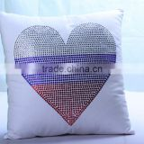 Colorful Love Heart Rhinestone Heat Transfer On Pillow Case