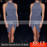 MGOO Low Price Wholesale Stock Plus Size Halter Dress Gray Bodycon Party Dress Fashion Women Sarong Z487