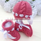 Baby Hand Knitted Hats With Shoes Winter Fashion Crochet Clothes Set For Kids