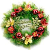 M108 artificial bulk Christmas wreath as door ornament with balls and gift box