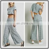 New Styles Loose Fit Straight Thai Cotton Pants and Crop Tops Sets for Sexy Young Grils NT6734