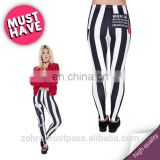 Stripes with patches femme stylish workout casual muscle fit fashion fancy pants denim polyester crossfit leggings for woman