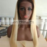 Ombre color human hair wig top quality european hair full lace wig