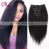 Freya Hair Cheap Virgin Brazilian Human Hair Kinky Straight Clips-in Hair
