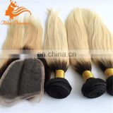 2016 New Arrival Grade 8A Human Hair with Closure Ombre Blonde Color 613 Brazilian Hair Bundles with Closure