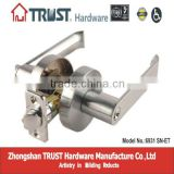 6931SN-ET:Trust Heavy-duty North American Tubular Lever Door Handle Lock with Brass cylinder