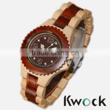 Kwock simple style high quality wooden watch with fashionable jewelry dial,custom your own logo