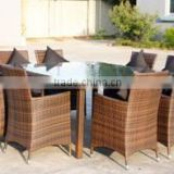 Wholesale international patio furniture wicker outdoor glass table set square dining table