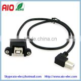 50cm USB 2.0 B type right angle male to female extension cable with screw holes can locked the front or rear of panel
