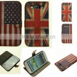 Fashional Wallet leather case cover for samsung galaxy s3,National American US Flag British UK Flag patterns