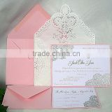 Blush Pink and Silver Gold Metallic Embossed Wedding Invitation with cream laser cut envelop