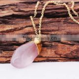 Crystal Hexagon Pyramid Rose Colored Quartz Necklace 2016                                                                         Quality Choice