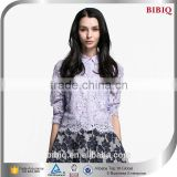 2015 Hot Sale Long Sleeve Purple Women Lace Blouse