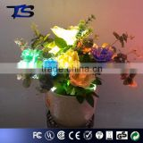 Best sale with CE and ROHS Floor Color change led fiber optic flowers with ceramics pot in Foshan factory