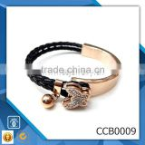 rhinestone butterfly charm various colors genuine leather bracelet stainless steel wholesale