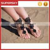 V-984 Lady footwear sandal beach crochet barefoot sandals crochet dance leg chain ankle bracelet indian foot jewelry