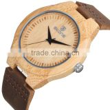 skone Natural Carbonized Bamboo Wooden Fashion Men Genuine Cork Leather Wood Watch