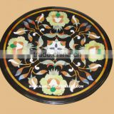 Round Marble Stone Inlaid Antique Table Top Hand Crafted Art Work