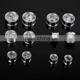Ipink 6 Pairs Stainless Steel Movable Round Crystal Screw Ear Plugs Flesh Tunnels Stretcher Kit Gauges in Viaous Gauges Size