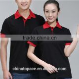 Fast Delivery China Factory Custom Plain / Blank Cotton Polo T shirt for Promotion Contrast Red Color Collar & Cufus