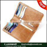 High quality retro genuine cowhide leather men credit/ID card holder,multifunction bifold leather card holder/wallet