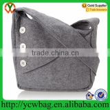 wholesale grey wool felt purse sling bag with cross body shoulder strap