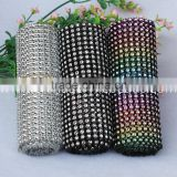 24rows colorful rainbow diamond mesh trimming cake wrapping rolls rhinestone chains bling for 10 yard