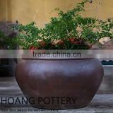Black Clay Ceramic Glazed Flower Pots / Planter Outdoor