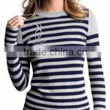 Women 100% Cashmere Crew Neck Sweater With Stripe Pattern