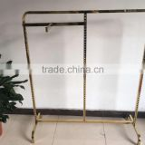 Gold clothing rack/single bar metal used clothing racks for sale/gold color clothes rack