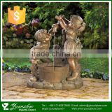 Hot sale garden small boy and girl bronze water fountain